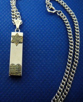 4C: Sterling silver mezuzah necklace judaica jewish