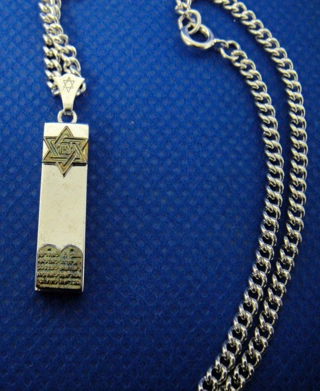 4C: Sterling silver mezuzah necklace judaica jewish
