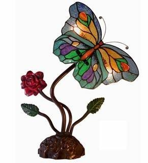 180B: Tiffany mp 2 Light Butterfly Accent Tiffany Lamp