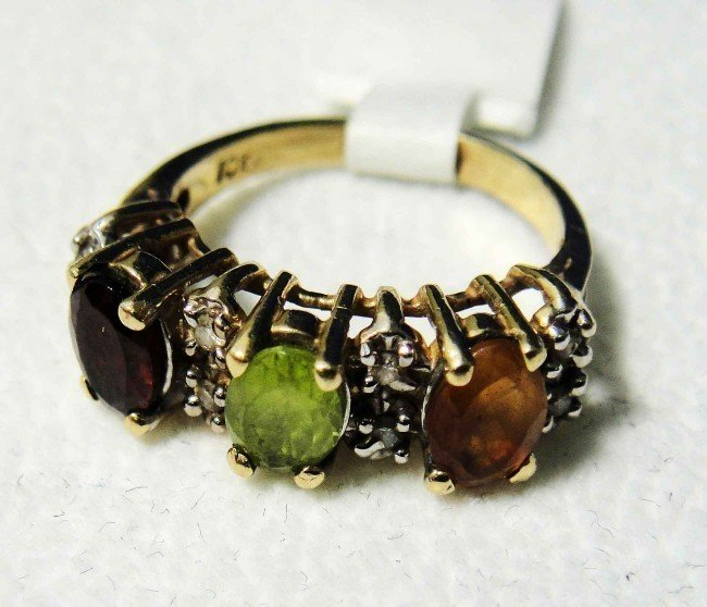 4C: Natural Garnet, Peridot, Citrine, Diamond, 10KT G