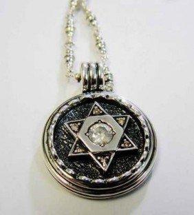 Beautiful Judaic Diamond Sterling Silver Pendant W