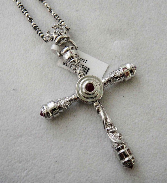 16C: Sterling Silver Natural Ruby Cross w/ Silver Chain