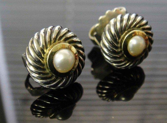 17C: David Yurman Pearl Cookie Earrings - 14k & SS -