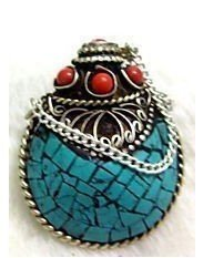 1A: Exquisite Tibet silver turquoise coral snuff bottle
