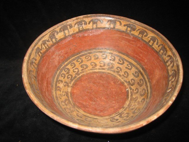 Antique Pre-Columbian Pottery Bowl w/ Superb Painting