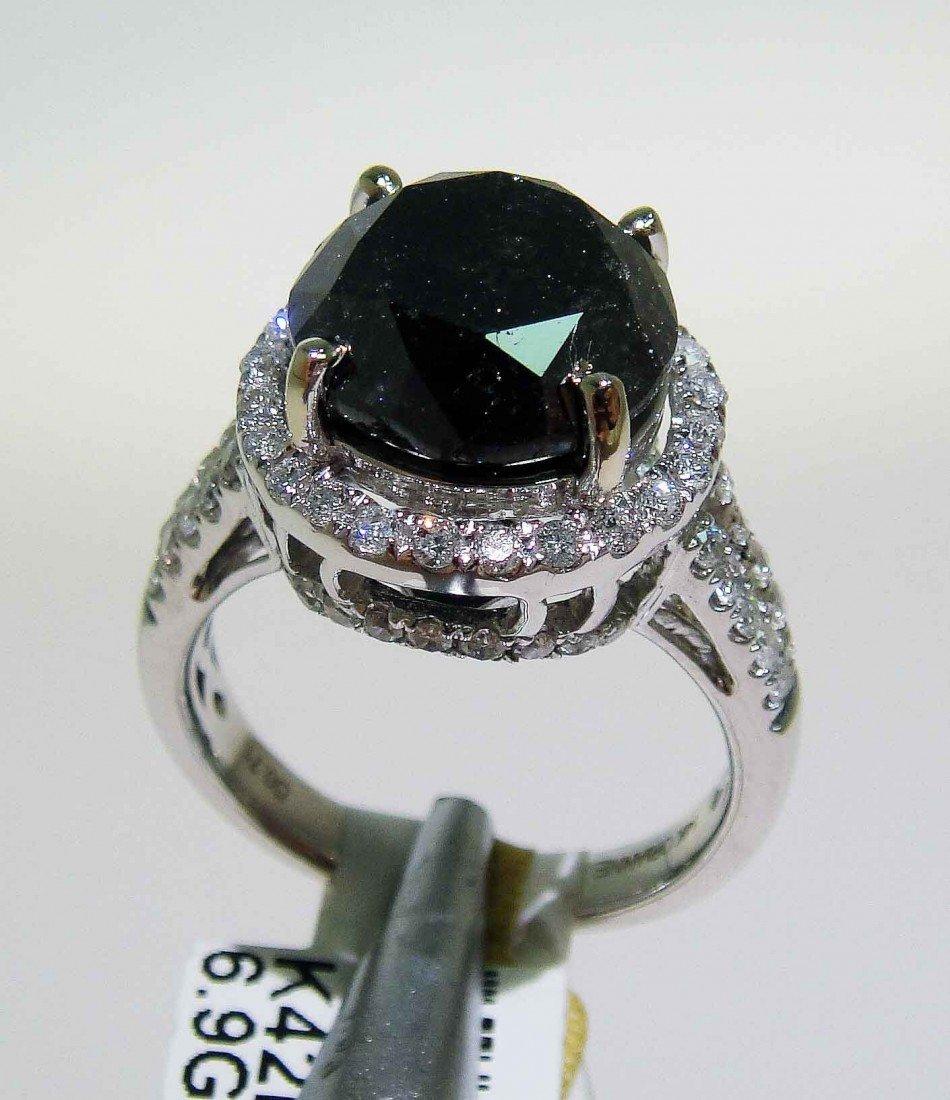 7.82ctw (7.11ct CNTR) Black/White Diamond 14KT Ring