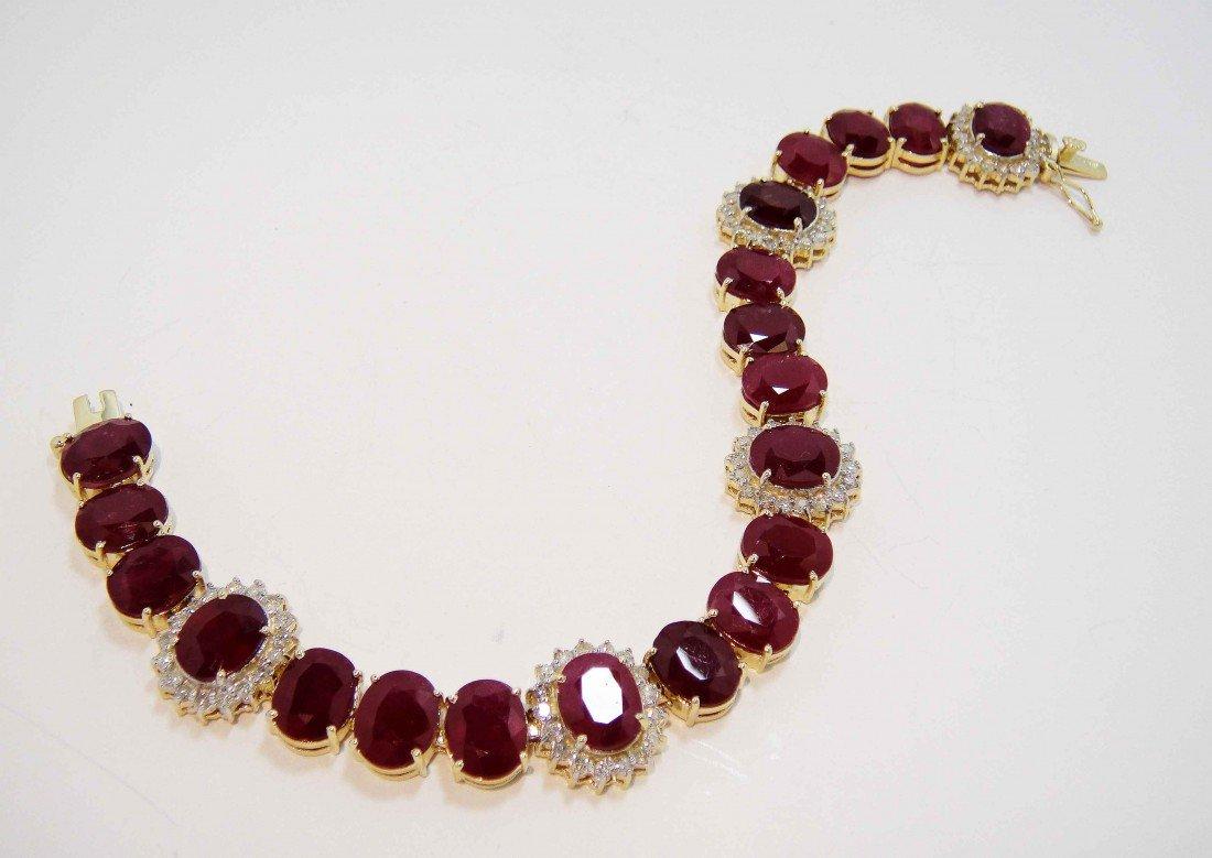 56.67ct Ruby & 1.73ct Diamond 14KT Gold Bracelet