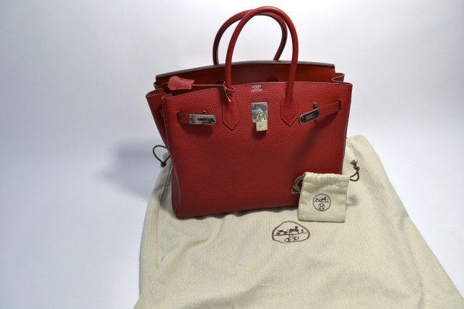 87T: Authentic Hermes Birkin Red Handbag w/ Original Du