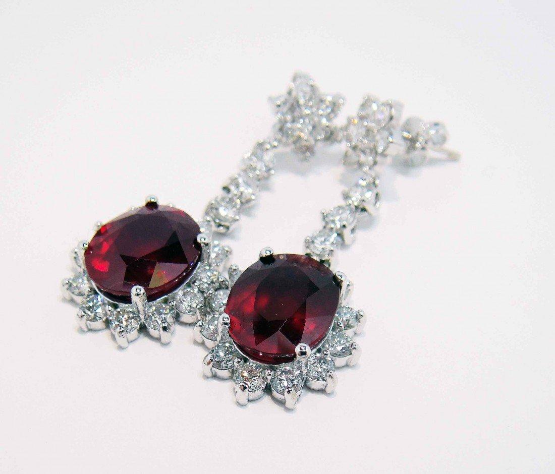 10.87ctw Ruby & 3.16ctw Diamond 14KT Gold Earrings