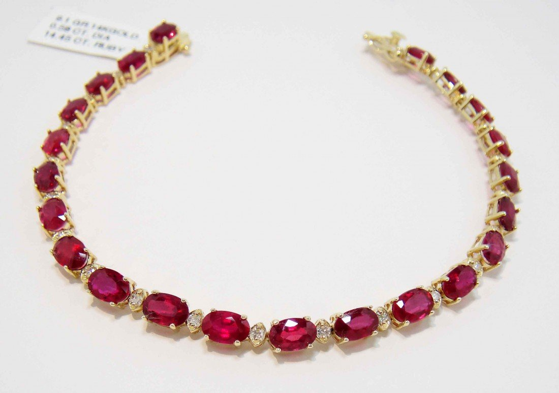 1E: 14.45ct Ruby & 0.58ctw Diamond 14KT Gold Bracelet