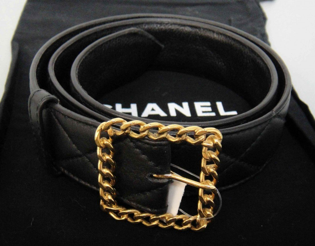 Authentic Chanel Quilted Leather Belt w/ Chain buckle