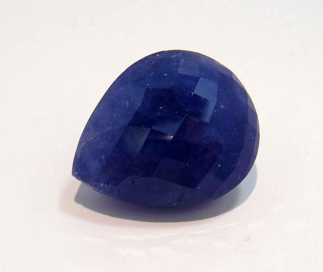 16FH: GIA 51.26CT Pear-Cut Vio Blue Tanzanite Certified