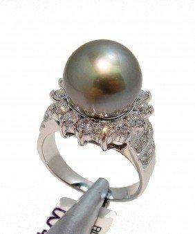 1.47ctw Diamond & 12.00MM Tahitian Pearl 14KT Ring