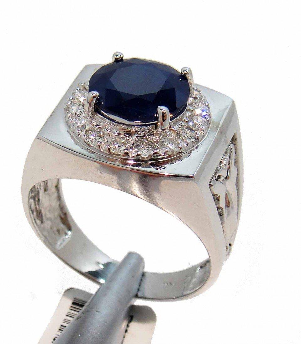 16P: 8.45ct Sapphire & 0.46ct Diamond 14KT Gold Ring