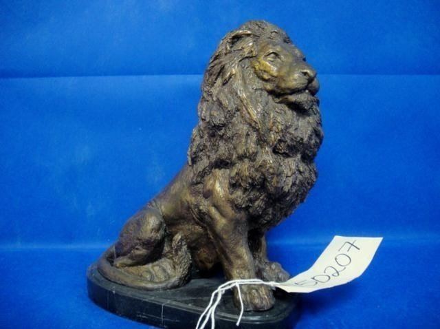 6: STATUE OF LION ON MARBLE BASE