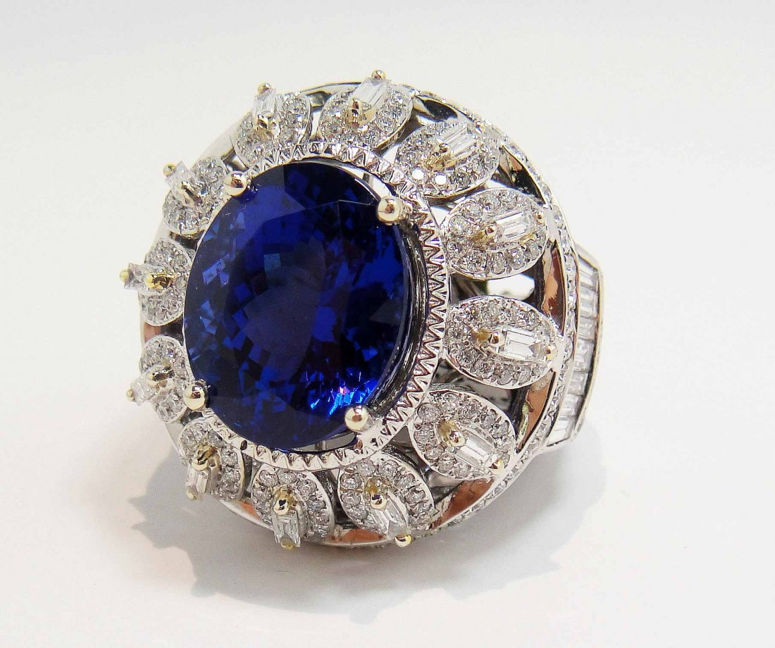 12.21ct Dark Tanzanite & 2.94ctw Diamond 14KT Gold Ring