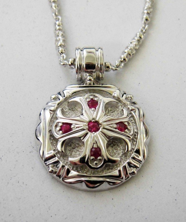 1C: Polished Sterling Silver & Ruby Cross Pendant w/ C