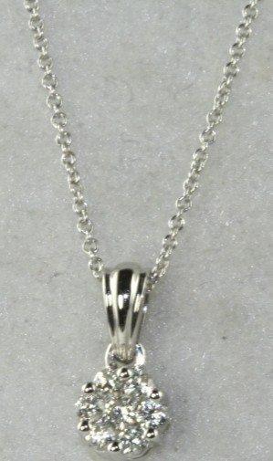 5C: NEW 14K WHITE GOLD DIAMOND NECKALCE