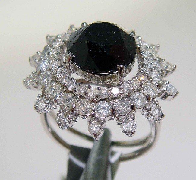 3: 6.28ctw (4.73ct CNTR) Black/White Diamond 14KT Rin