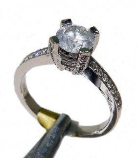 1.27ctw, 1.00ct Center Diamond 18KT Gold Ring