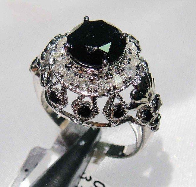 1D: 3.16ct Black & 0.42ct White Diamond Sterling Silve