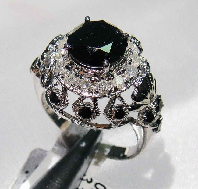1D: 3.16ct Black & 0.42ct White Diamond Sterling Silve