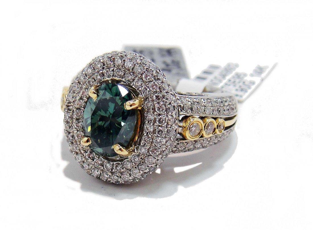 2D: 3.60ctw, 2.00ct CNTR Green-Blue Diamond 14KT Gold R