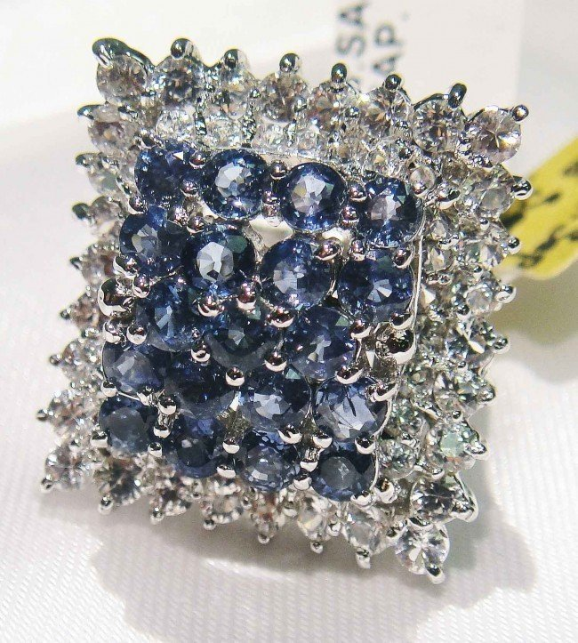 4D: 3.25ct Sapphire & 2.30ct CL-Sapp Sterling Silver R