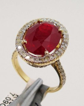 8.78ct Ruby & 0.75ct Diamond 14KT Gold Ring