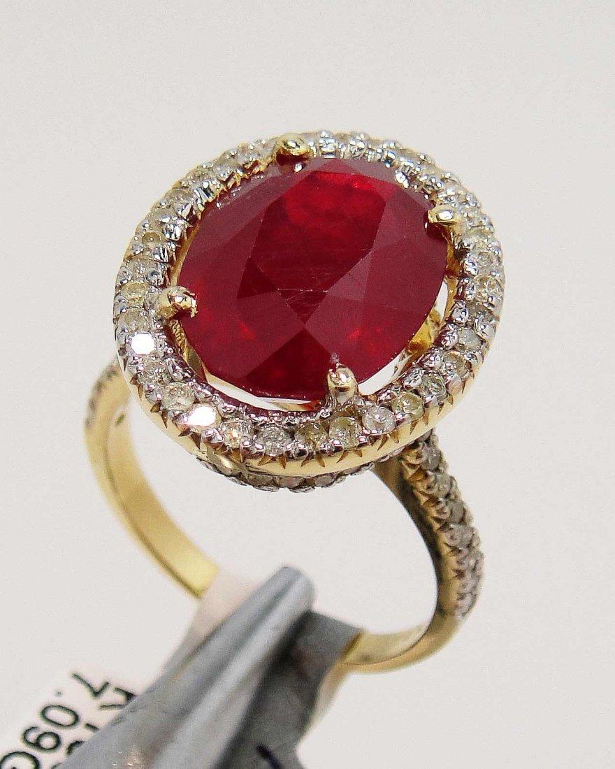 5D: 8.78ct Ruby & 0.75ct Diamond 14KT Gold Ring