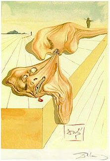 """Salvador Dali """"The Men Who Eat Each Other"""" Woodcut"""