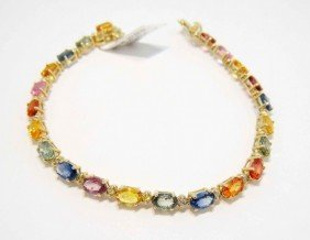 12.57ctw Multi-Colored Sapphire & Diamond Gold Bracelet