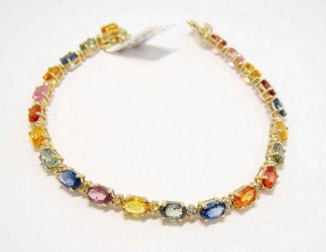 12.57ctw Multi-Colored Sapphire & Diamond Gold Bracelet