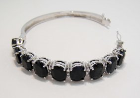 44.79ctw Blue/CL Sapphire Sterling Silver Bangle