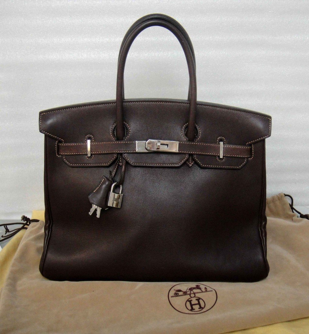 Authentic Hermes Birkin Brown FJORD 35CM Handbag