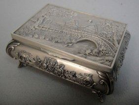 Beautiful Tibet Silver Carved House Rose Jewelry Bo