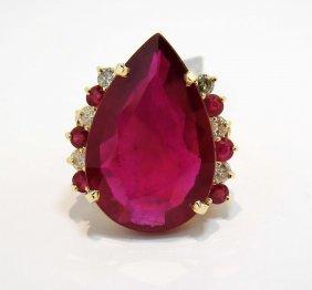 2V: 48.37ct Ruby & 0.98ctw Diamond 14KT Gold Ring