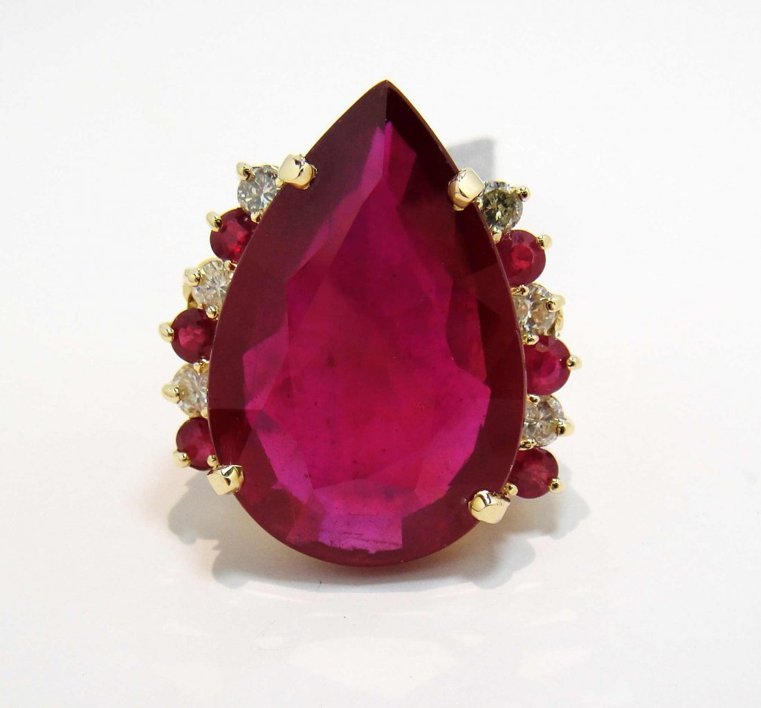 2V: 48.37ct Ruby & 0.98ctw Diamond 14KT Gold Ring
