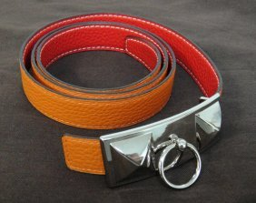Authentic Hermes Leather Belt Red/Orange Size 95