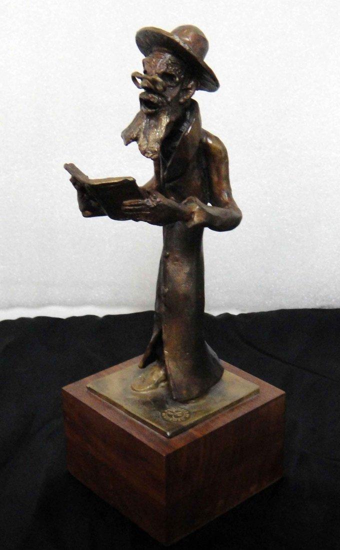 "12: Leo Blackman ""Old Man Reading"" Bronze Sculpture"