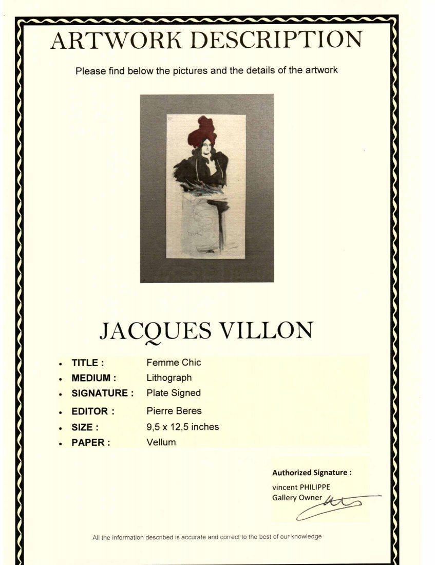 "Jacques Vllon ""Femme Chic"" Vellum Litho Plate Signed - 3"