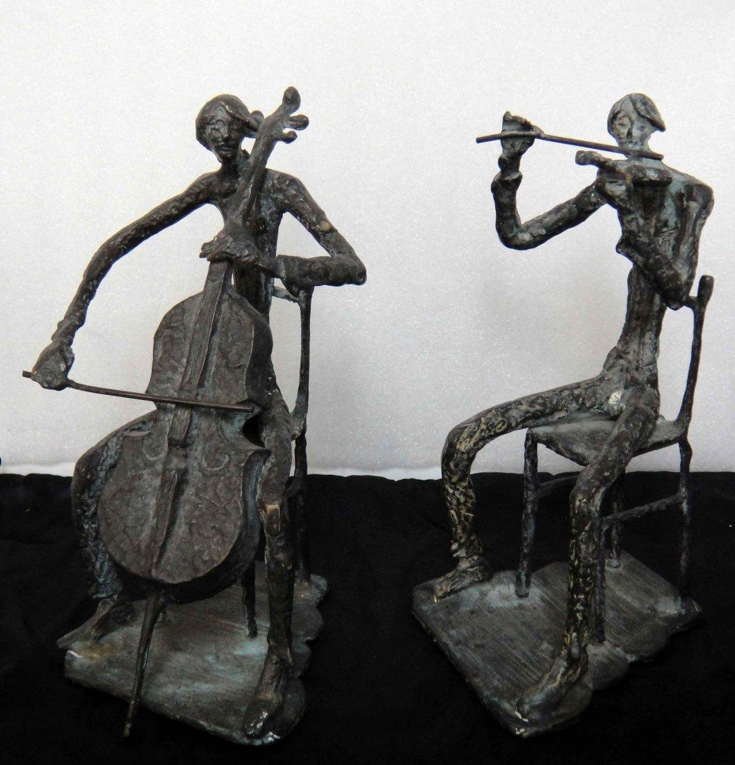 Vintage Bronze Sculpture of two unknown Musicians