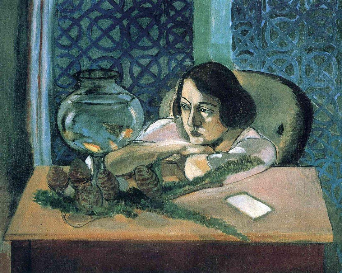 """36C: Matisse's """"Woman Before an Aquarium"""" lithograph."""
