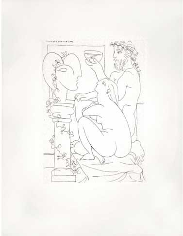 """42C: PICASSO """"Suite Vollard #4"""" Lithograph Plate Signed"""