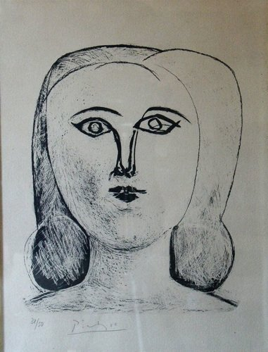 """Pablo Picasso  """"Tête de Jeune Fille""""  Lithograph"""