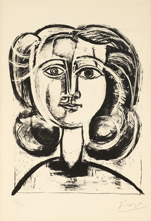 """Pablo Picasso """"Head of a Young Girl"""" Lithograph"""