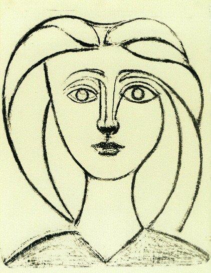 """Pablo Picasso """"Tête de jeune fille aux"""" Lithograph"""