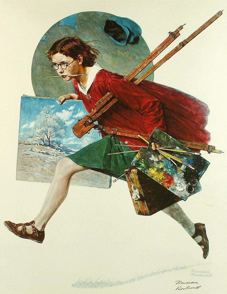 Norman Rockwell Offset Lithograph Wet Paint