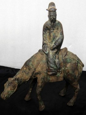 Antique Cast Iron Man On Camel 100 Year Old Figure
