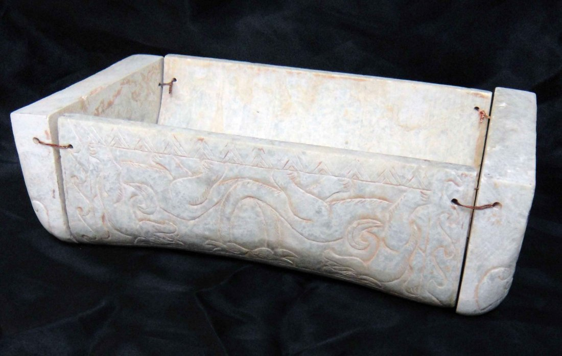 35: Vintage Chinese Carved White Jade Pillow